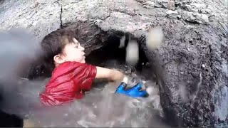 Kid Noodling a Catfish - Fishing by hand