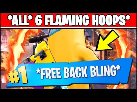 JUMP THROUGH ALL 6 FLAMING HOOPS Location - Fortnite Downtown Drop Challenges