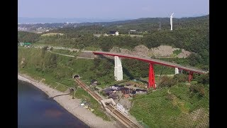 【Phantom3(std)空撮】新潟県柏崎市、青海川海岸、海岸に近い駅