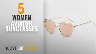 Top 10 Women Aviator Sunglasses [2018]: U.S. CROWN Women Cat-Eye Mirror Sunglasses with case