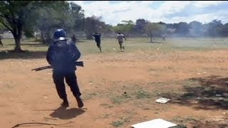 Clashes between riot police and South African miners - no comment