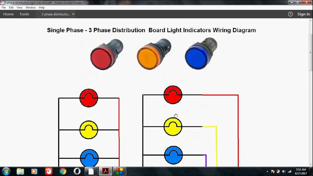 How To Wire Light Indicators For Single Phase And 3 Phase