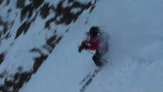 Skiing the Wrap Around Chute, Fissile Mountain, Whistler, BC