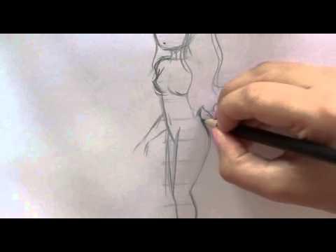 Cách vẽ cơ thể nhân vật nữ theo 4 vị trí khác nhau.