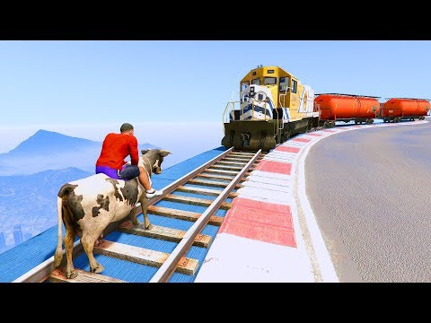 Can Franklin Stop The Train In GTA 5! - FUNNY MOMENTS