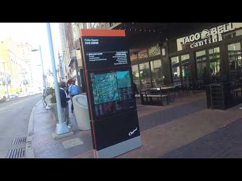 Walking in Downtown Cleveland from First Energy Stadium to Progressive Field