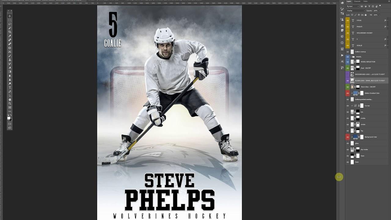 Photoshop Sports Template Tutorial Frozen Hockey Template