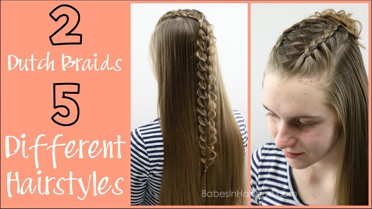 2 Dutch Braids 5 Different Hairstyles Babesinhairland Com Youtube
