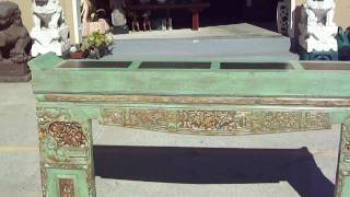 Green Chinese Antique Opera Carving Altar Table Wk1893