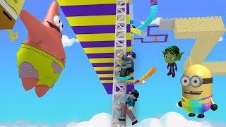 ROBLOX OBBY CU DESENE ANIMATE : Minions/Teen Titans/Sponge Bob