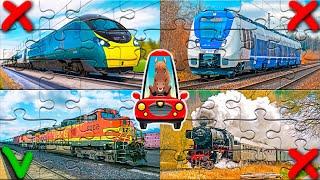 Пазлы поезда для детей. Учим железнодорожный транспорт. Мультик про поезда для малышей