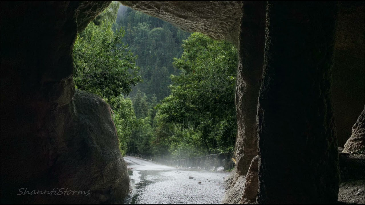 Sleep Inside a Cave during a Thunderstorm - 2 hours Rain Sounds for Sleep, Study, Relaxation