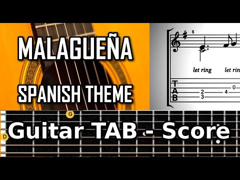 Malagueña (Francisco Tarrega 1852 - 1909) - Classical guitar tablature