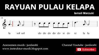 not rayuan pulau kelapa - notasi balok melodi pianika - doremi solmisasi