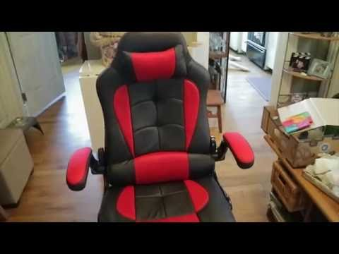 Aminiture Reclining Office Gaming Chair in Black and Red