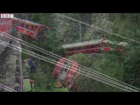 BBC News   Swiss train derailed in landslide