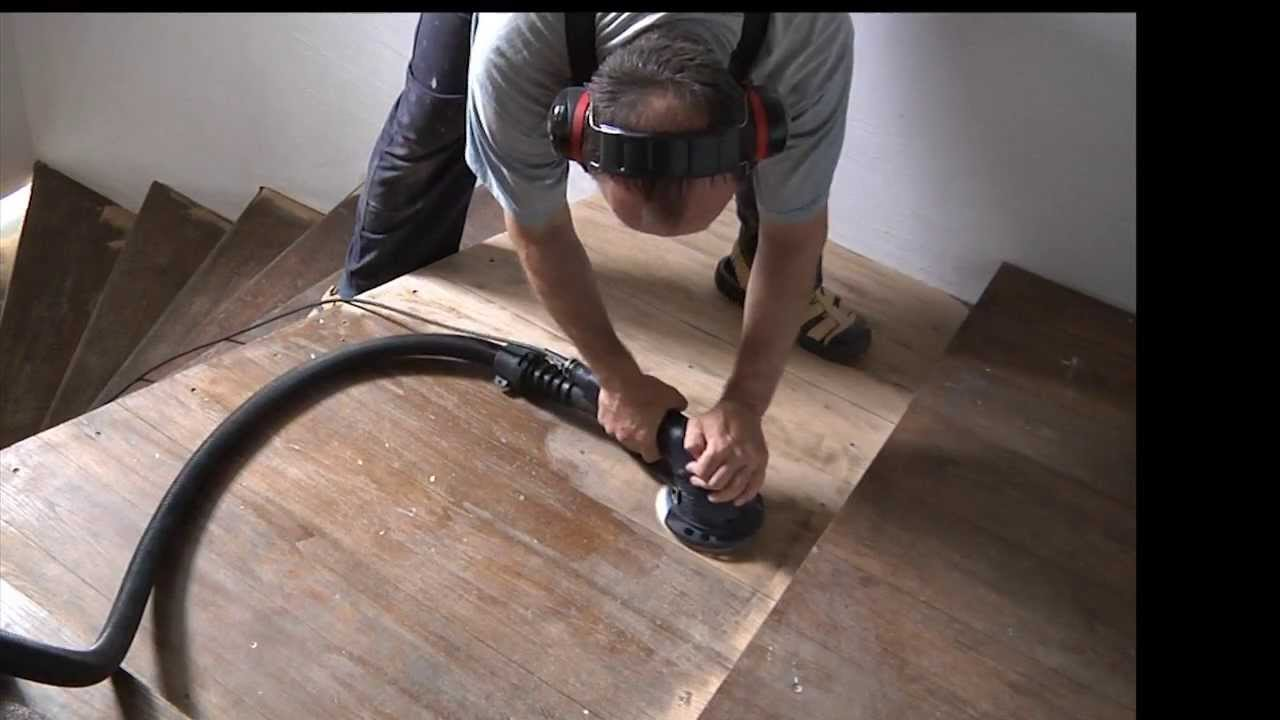 Sanding A Staircase   Refinish, Sand, Stain Laquer Wooden Stairs   YouTube