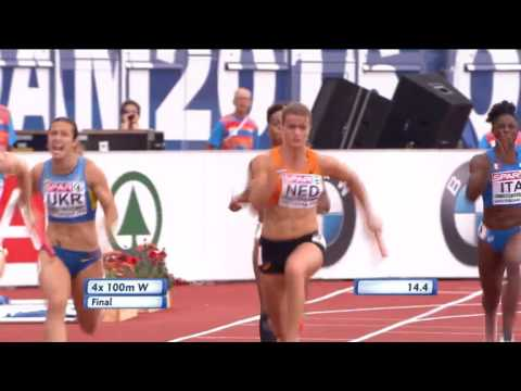 Womens 4x100m Final - Dafne Shippers Destroys Her Leg - European Athletics Championships 2016