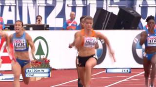 Womens 4x100m Final - Dafne Shippers Destroys Her Leg - European Athletics Championships 2016