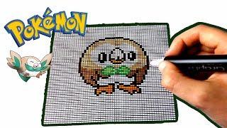 Pixel Art Pokemon Brindibou Rowlet By Génération Rougeetbleu