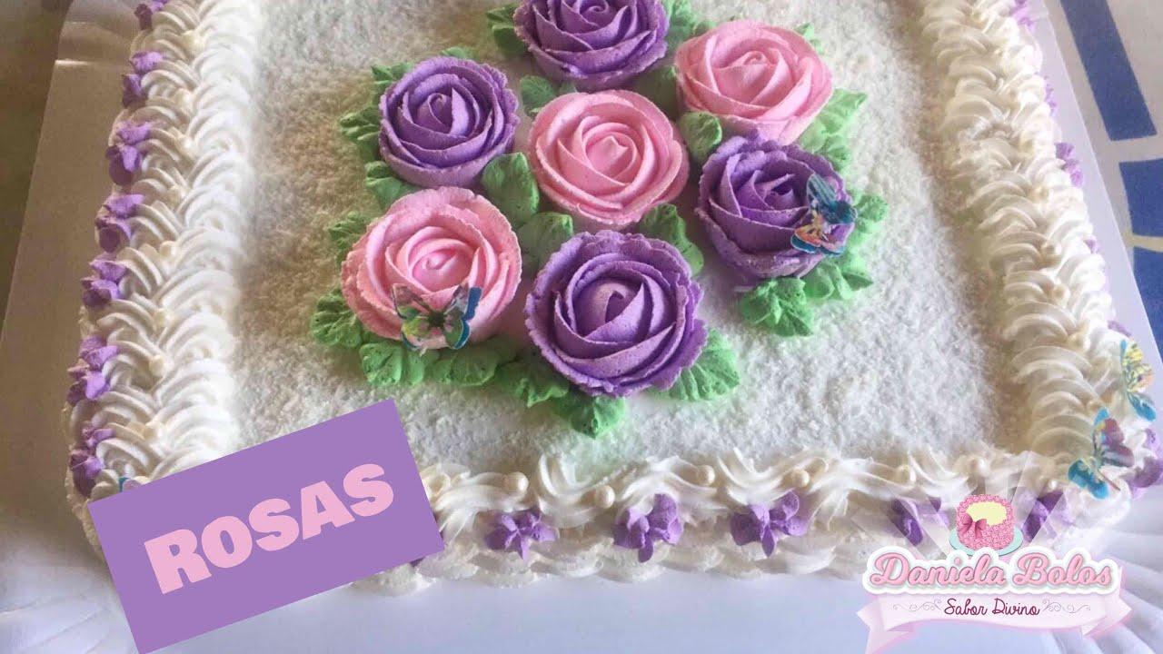 Confeitando Bolo C Rosas De Chantilly Youtube