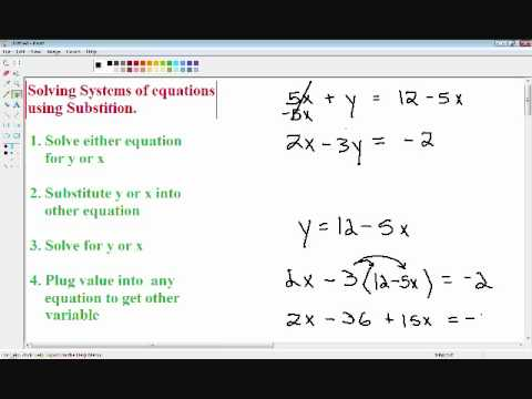 Solving systems of equations - Substitution method - YouTube