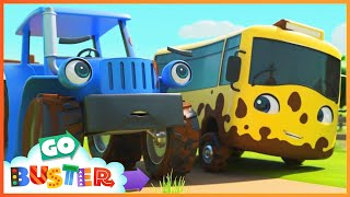 Old MacDonald Splashes in the Muddy Puddles | Go Buster | Baby Cartoons | Kids Videos