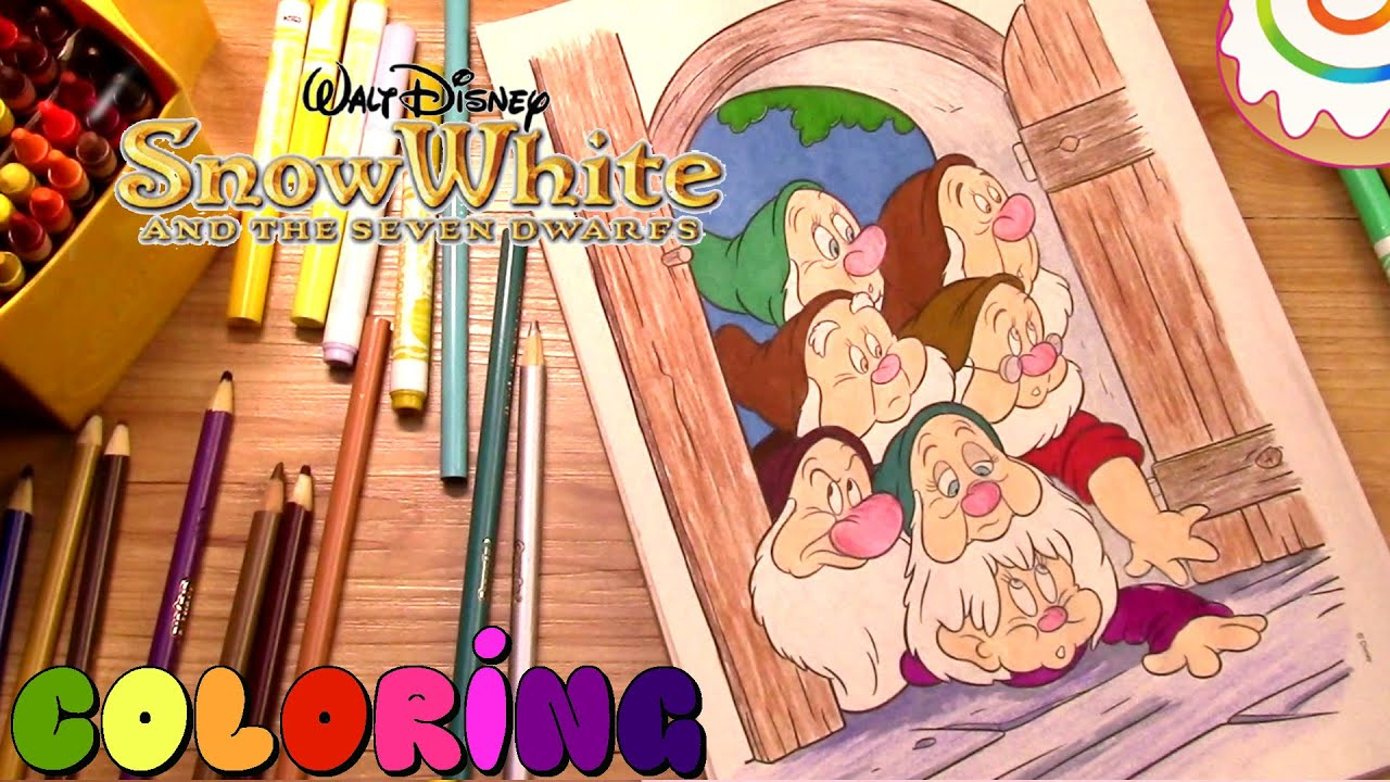 disney snow white and the seven dwarfs coloring page youtube