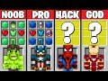 Minecraft Battle: NOOB vs PRO vs HACKER vs GOD - AVENGERS SUPERHERO CRAFTING Challenge. Animation.