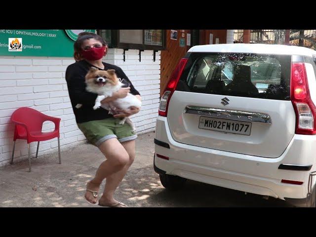 Raveena Tandon With Her Pet Dog Snapped At Clinic Bandra