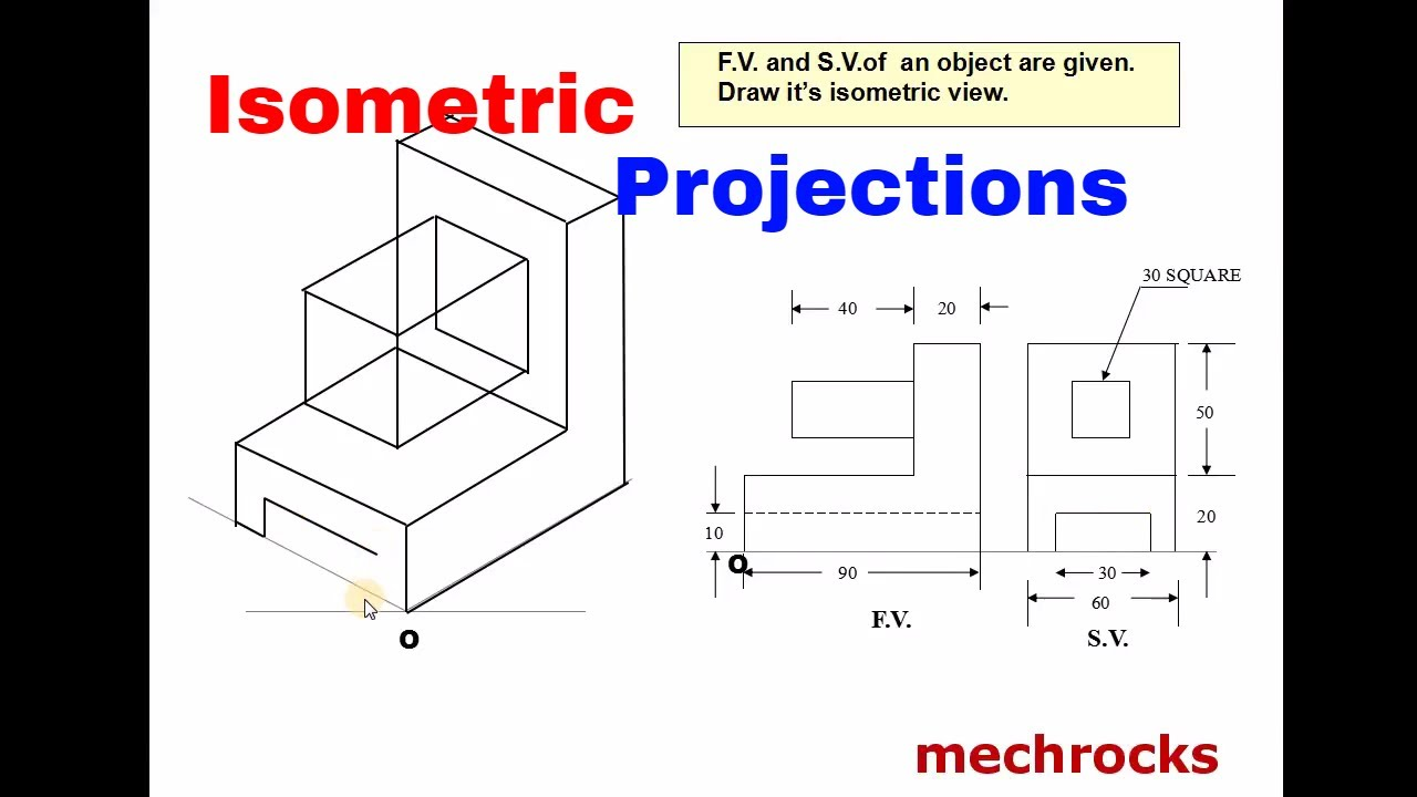 Engineering Drawing - Isometric Projections - Example 3
