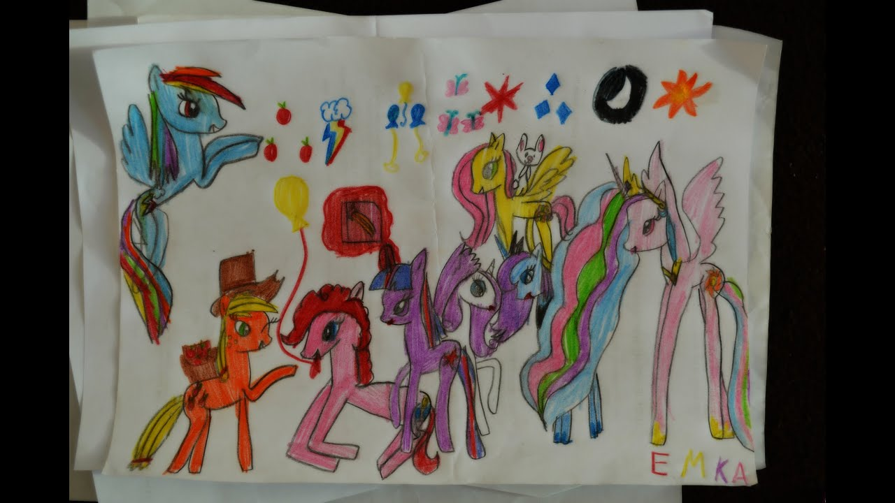 My Little Pony Speed Drawing (by 7 years old girl) - YouTube