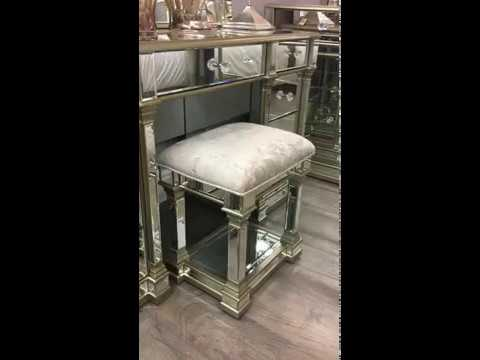 Athens Gold Mirrored Dressing Table Set