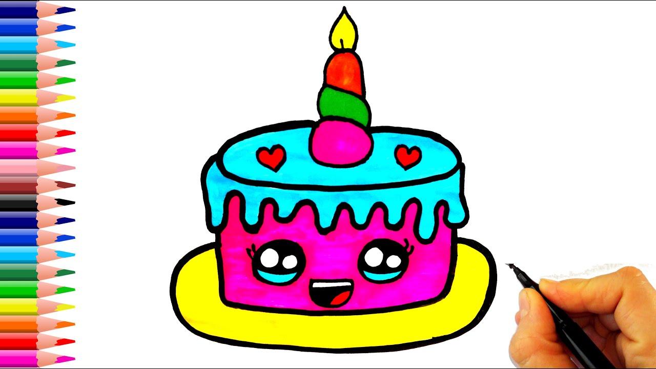 Çok Kolay! Doğum Günü Pastası Nasıl Çizilir? - How To Draw a Birthday Cake Very Easy