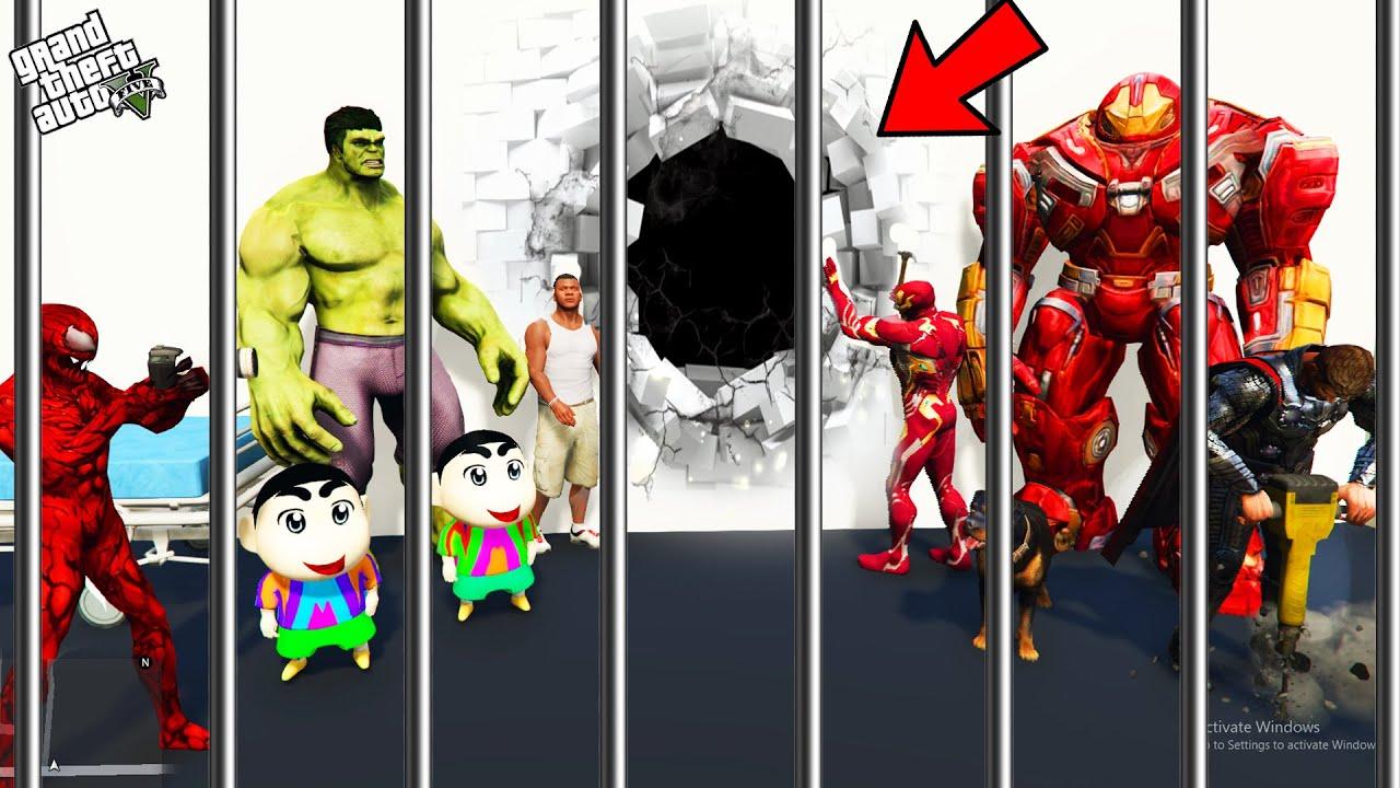 GTA 5 : Shinchan , Pinchan And Franklin Biggest Plan To Escape Prison in GTA 5 ! (GTA 5 mods)