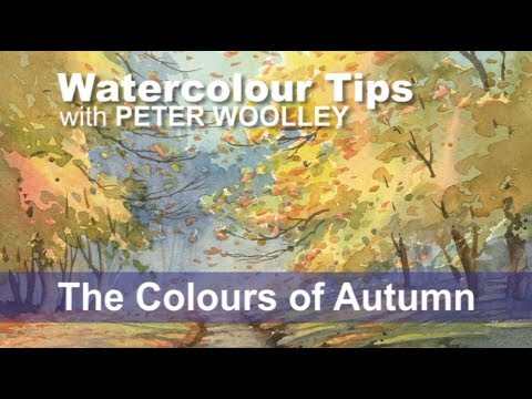 Watercolour Tip from PETER WOOLLEY: The Colours of Autumn: In this demonstration, professional artist Peter Woolley will explore some of the ways in which Autumn can be depicted in a watercolour landscape.  A full set of tutorials on painting trees are featured in Part 3 of the 'Watercolour for Beginners' video series: Trees in the Landscape, available on DVD and VIDEO ON DEMAND.  The DVD version is available in both PAL and NTSC formats  Order online from www.peterwoolley.co.uk  Want to improve your watercolours, or learn the basics? Check out Peter's Private Online Student Service at www.peterwoolley.co.uk for one-to-one tuition and professional guidance.