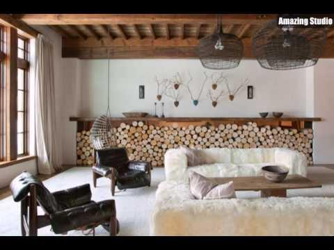 Modernes Rustikales Interieur Landhausstil Möbel Leder Pelz Holz Stümpfe  Interessante Leuchten