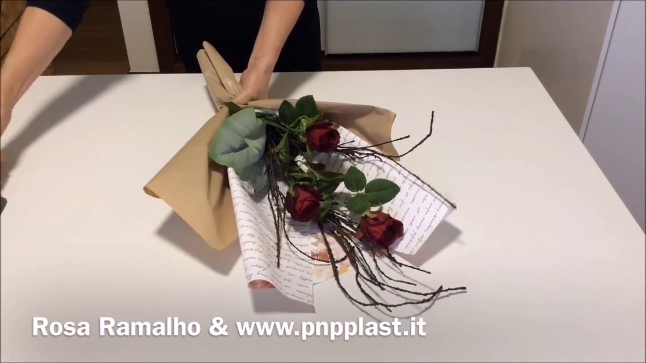 Wrapping roses with double cellophane and tissue paper#wrapflowers ...
