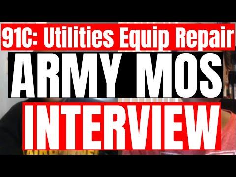 91C: Utilities Equipment Repair ARMY MOS Interview