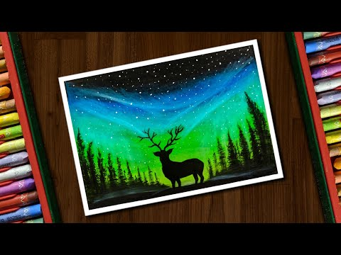 Aurora Night Drawing With Oil Pastels For Beginners Step By Step