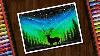 Aurora Night Drawing with Oil Pastels for beginners - step by step