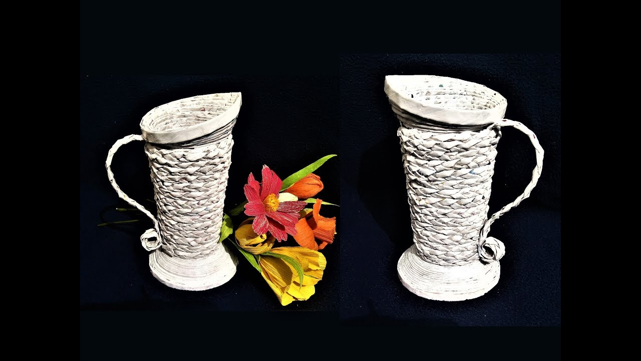 How to make flower vase from newspaper best out of waste for Handmade flower vase with waste material