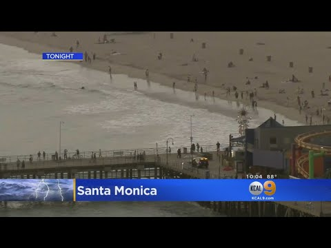 Lightning Forces Evacuations At Santa Monica Beach