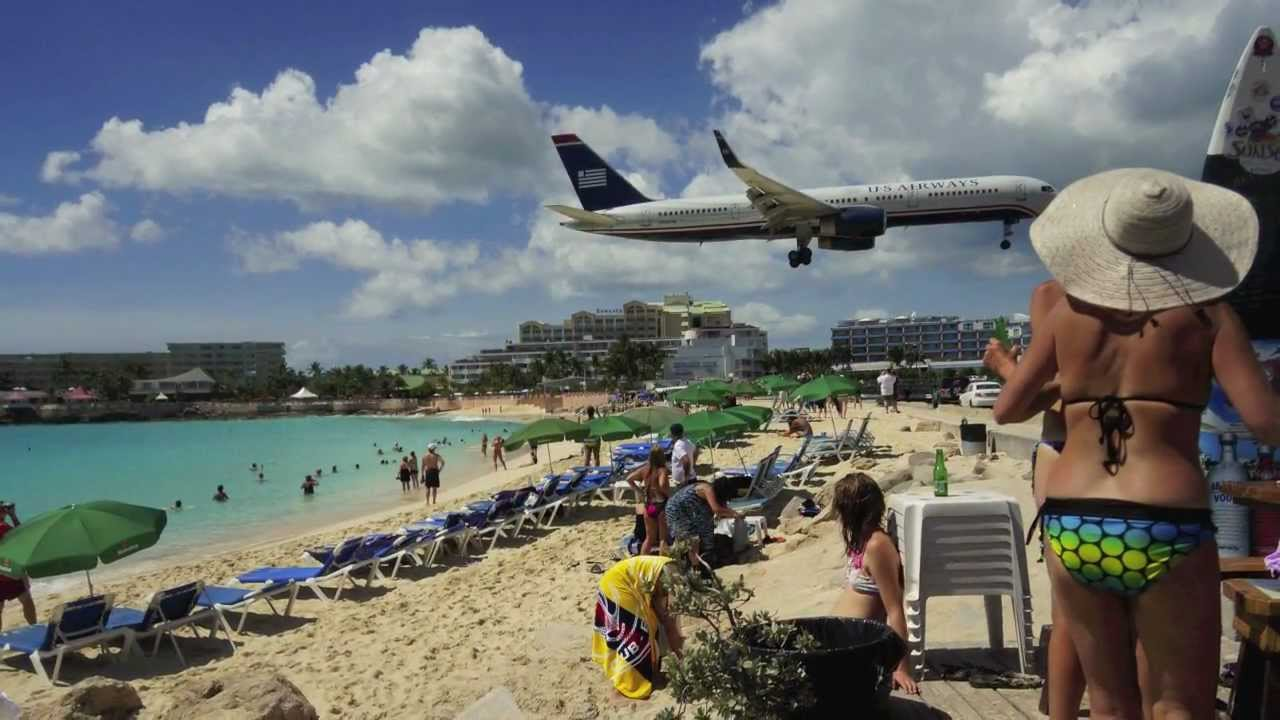 SXM Maho Landing/Take off Flights - St. Martin - YouTube
