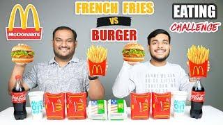 FRENCH FRIES VS BURGER EATING CHALLENGE   Burger & French Fries Eating Competition   Food Challenge