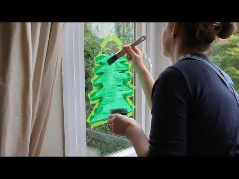 Peelable Glass Paint painting a Christmas Tree