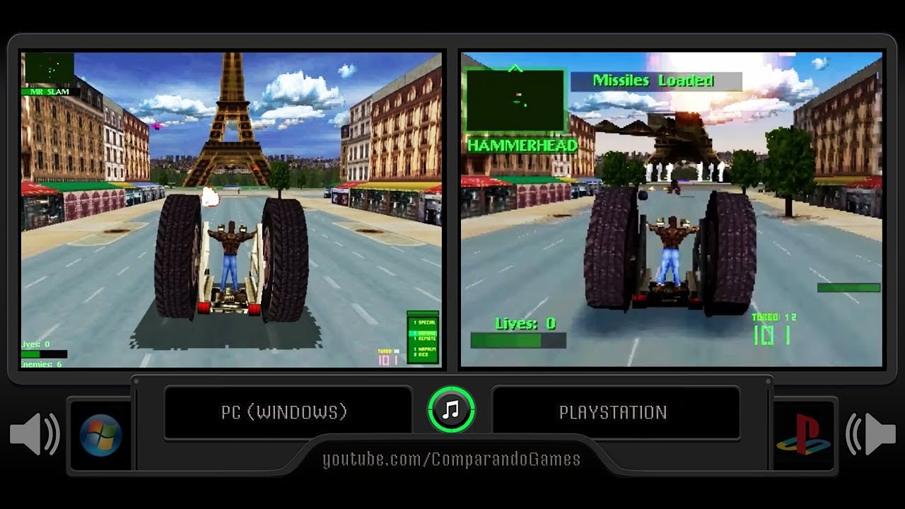 Metal Pc Twisted Metal 2 Pc Vs Playstation Side By Side Comparison