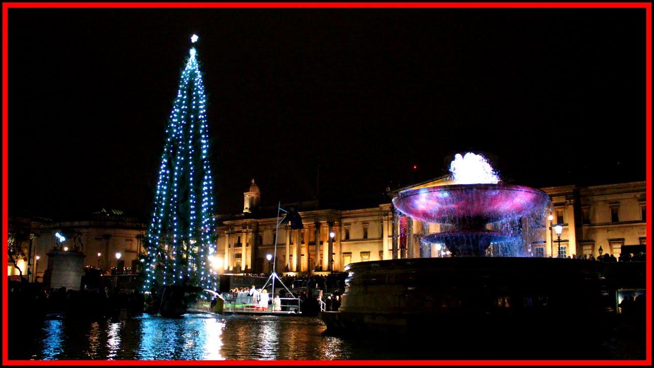 Trafalgar Square Christmas Tree lights switch on 2015 - YouTube