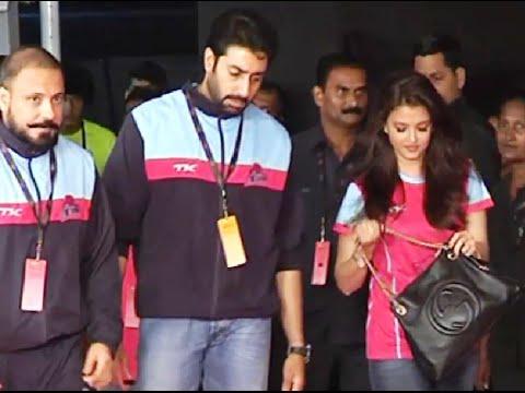 Abhishek Bachchan and Aishwarya Rai at the grand finale of Pro Kabaddi League 2014.