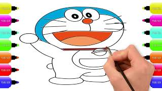 Drawing & Coloring a Doraemon Kids Coloring Pages | Easy Step By Step